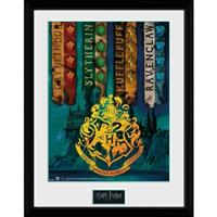 GB Eye poster in lijst Harry Potter House Flags 30 x 40 cm