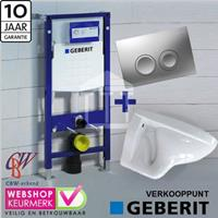 Geberit Complete Toiletset met  Up 100 wit luxe Delta 21 mat-chroom...