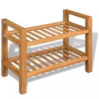 Schoenenrek met 2 planken massief eikenhout 49,5x27x40 cm
