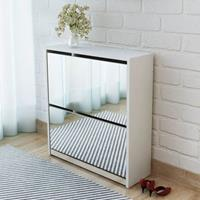 Schoenenkast tweelaags met spiegel 63x17x67 cm wit