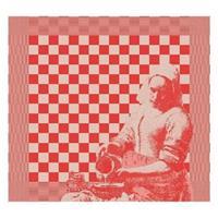 DDDDD Theedoek Milk Maid rood 60x65cm 6 stuks