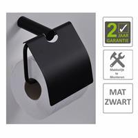 Boss&wessing AQS Toiletrolhouder Mia Met Klep Mat Zwart