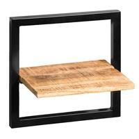 Leen Bakker Wandplank Bart - zwart/naturel - 35x35x25 cm