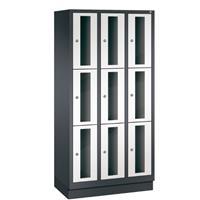 CLASSIC Locker met doorzichtige deuren (9 smalle vakken)