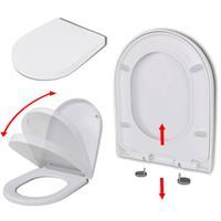 vidaXL Toiletbril soft-close quick-release design vierkant wit