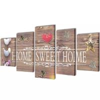VidaXL Canvas Wall Print Set Home Sweet Home Design 200 x 100 cm