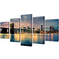 VidaXL Canvasdoeken Brooklyn Bridge uitzicht over river 100 x 50 cm