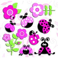 muurdecoratie 3-levels Pink Ladybugs junior
