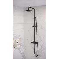 Saniclass Regendouche  Black Showerpipe met Thermostaat 20cm Mat Zwart