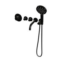 Saniclass Inbouwthermostaatset  Black Incl Baduitloop en 3 Standen Handdouche Mat Zwart