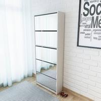 VidaXL Schoenenkast met 5 spiegels 63x17x169,5 cm wit