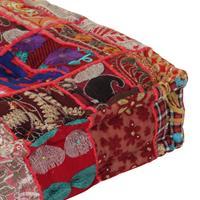 Poef patchwork vierkant handgemaakt 50x50x12 cm katoen rood