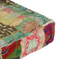 Poef patchwork vierkant handgemaakt 50x50x12 cm katoen groen