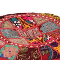 Poef patchwork rond handgemaakt 40x20 cm katoen rood