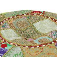 Poef patchwork rond handgemaakt 40x20 cm katoen groen