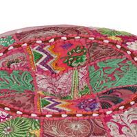 Poef patchwork rond handgemaakt 40x20 cm katoen roze