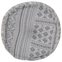 Poef met patroon handgemaakt rond 50x25 cm katoen grijs