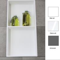 Luca Inbouwnis  Sanitair 59,5x29,5x8cm Polystone 2 Vakken Rechthoek Glans Wit