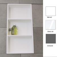 Luca Inbouwnis  Sanitair 59,5x29,5x8cm Solid Surface 3 Vakken Rechthoek Mat Wit