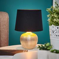 Lampenwelt.com Zwart -gouden tafellamp Thorina