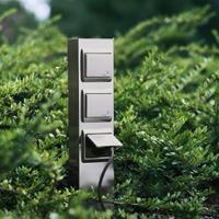 Albert Leuchten 3-voudige stopcontactenzuil roestvrij staal