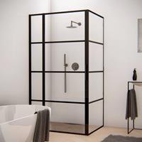 Aqua Splash Douchecabine Frame 80x100 cm 8 mm NANO Glas Mat Zwart Raster - Douchecabine 80x100 cm Frame