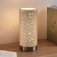 Lampenwelt.com Tafellamp Umma met kleine uitsparingen, grijs