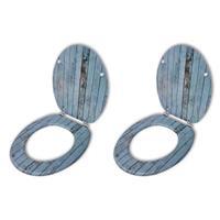 vidaXL Toiletbril met hard-closedeksel 2 st MDF oud hout
