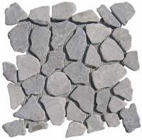 Jabo Vloertegel Light grey marmer scherven getrommeld mixed maten