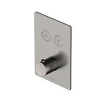 Hotbath Cobber Afbouwdeel thermostaat Rechthoek met 2 push buttons Chroom PB009Q
