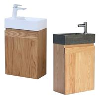 Sanilux Fonteinkast  Wood Keramiek Softclose deur 41x23x70cm Rechts draaiend