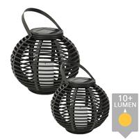 Slk Set van twee stuks Solar Lantaarn Basket Small en Medium Rotanlook lamp op zonne energie