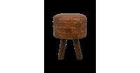 HSM Collection ronde kruk Jari - patchwork leder - vintage cognac