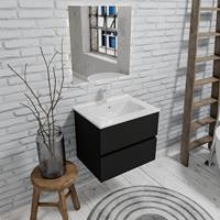 Zaro Malaga badkamermeubel 60cm mat zwart 1 kraangat met 2 lades