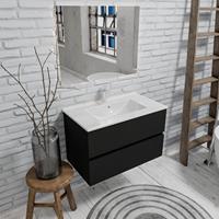Zaro Malaga badkamermeubel 80cm mat zwart 1 kraangat met 2 lades