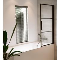 Riho Grid badwand 80x150cm rechts zwart profiel en helder glas GBB5080002