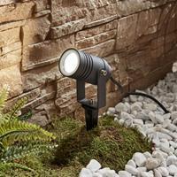 Lampenwelt.com Buitenspot Galina met grondspies, grijs, 10 cm