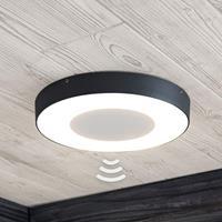 Lampenwelt.com LED buitenplafondlamp Sora, rond, sensor