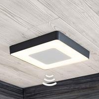 Lampenwelt.com LED buitenplafondlamp Sora, hoekig, sensor