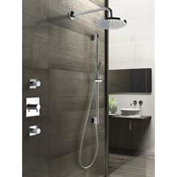 Hotbath IBS 2 Get Together inbouw doucheset Laddy vierkant - geborsteld nikkel - met staafhanddouche - 25cm hoofddouche - met wandarm - zonder glijstang