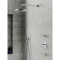 Hotbath IBS 5 complete thermostatische douche inbouwset Friendo met 2 stopkranen geborsteld nikkel staafmodel wandarm 20cm IBS5GN-S-W-20cm