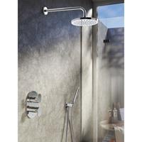 Hotbath IBS 5A complete thermostatische douche inbouwset Friendo met 2 weg stop omstel geborsteld nikkel staafmodel wandarm 20cm IBS5AGN-S-W-20cm
