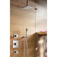 Hotbath IBS 4 complete thermostatische douche inbouwset Bloke met 2 stopkranen geborsteld nikkel staafmodel plafondbuis 30cm diameter douchekop 30cm IBS4GN-S-P30-30cm
