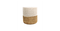 HSM Collection Pouf Malibu - raffia - ø34 cm - naturel/wit
