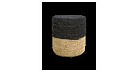 HSM Collection Pouf Malibu - raffia - ø34 cm - naturel/zwart