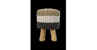 HSM Collection Kruk Malibu - ø33 cm - raffia/zeefgras - naturel/wit/zwart