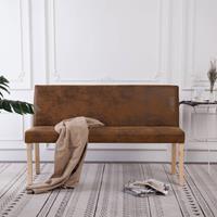 Bankje 139,5 cm kunstsuède bruin