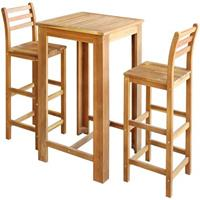 VidaXL Bartafel- en stoelenset massief acaciahout 3-delig