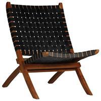 VidaXL Relaxstoel gekruiste strepen 59x72x79 cm echt leer zwart