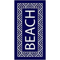 Strandlaken/badlaken zigzag navy/wit Beach 90 x 170 cm Multi